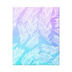 Handdrawn paisley feathers Purple Teal Watercolor Canvas Print