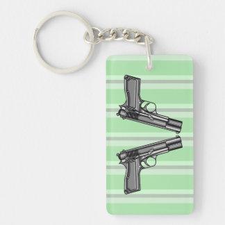Handguns, Pistols, Firearms Double-Sided Rectangular Acrylic Keychain
