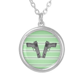 Handguns, Pistols, Firearms Silver Plated Necklace