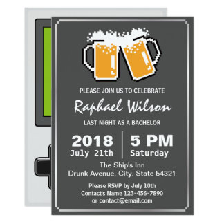 """Handheld Game Funny Beers Bachelor Party Card 5"""" X 7"""" Invitation Card"""