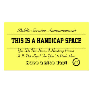 Handicap Parking Notice Cards Business Card