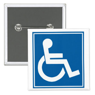 Handicap Sign 2 Inch Square Button