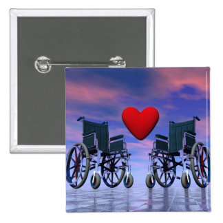 Handicapped persons love - 3D render 2 Inch Square Button