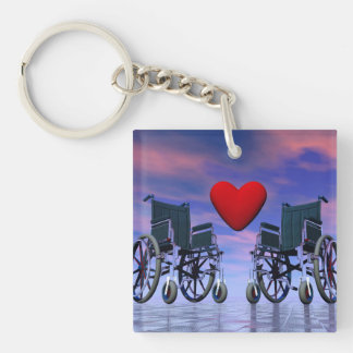 Handicapped persons love - 3D render Double-Sided Square Acrylic Keychain