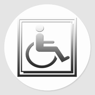 Handicapped Stylish Symbol Chrome Silver Round Sticker