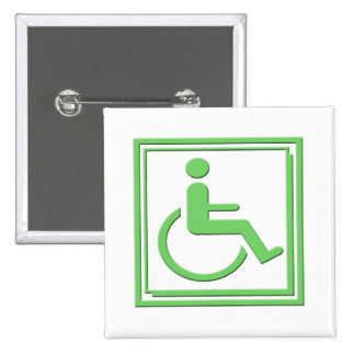 Handicapped Stylish Symbol Green 2 Inch Square Button