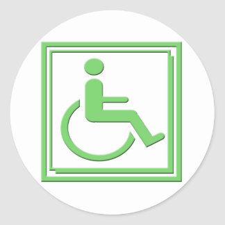Handicapped Stylish Symbol Green Classic Round Sticker