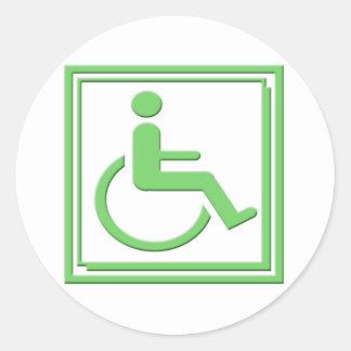 Handicapped Stylish Symbol Green Round Sticker