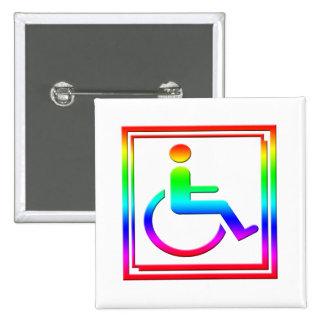 Handicapped Stylish Symbol Multicolored 2 Inch Square Button