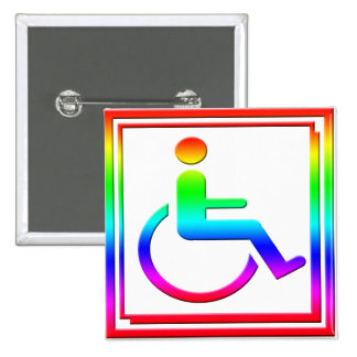 Handicapped Stylish Symbol Multicolored Buttons