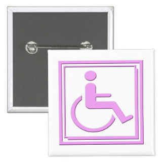 Handicapped Stylish Symbol Pink Buttons