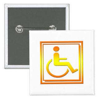 Handicapped Stylish Symbol Yellow Orange Pins