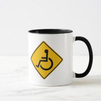 Handicapped Warning, Traffic Warning Sign, USA Mug