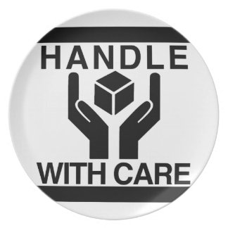 Handle With Care Basic Black Logo Dinner Plates
