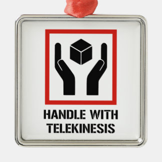Handle With Telekinesis Silver-Colored Square Ornament