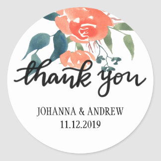 Handlettered Thank You Watercolor Red Flowers Classic Round Sticker