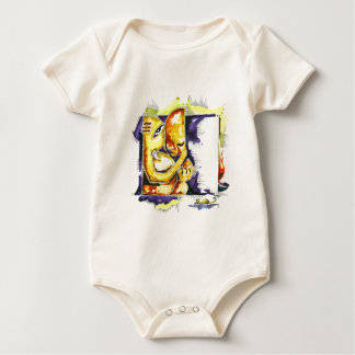 Handmade Abstract Painting of Lord Ganesha Baby Bodysuit