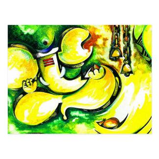Handmade Abstract Painting of Lord Ganesha Postcard