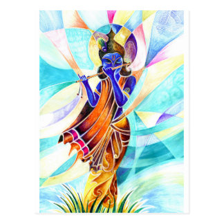 Handmade Abstract Painting of Lord Krishna with fl Postcard
