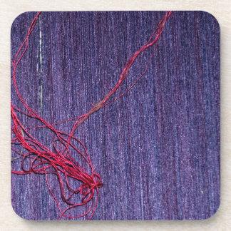 Handmade Blue Thai Silk With Red Thread Beverage Coasters