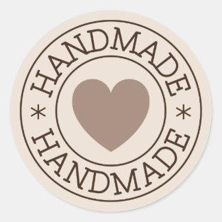 Handmade, brown stamp design with heart round sticker