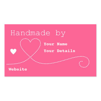 Handmade by: Craft Business Tags - Deep Pink Business Card