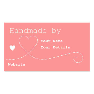 Handmade by: Craft Business Tags - Salmon Pink Business Cards