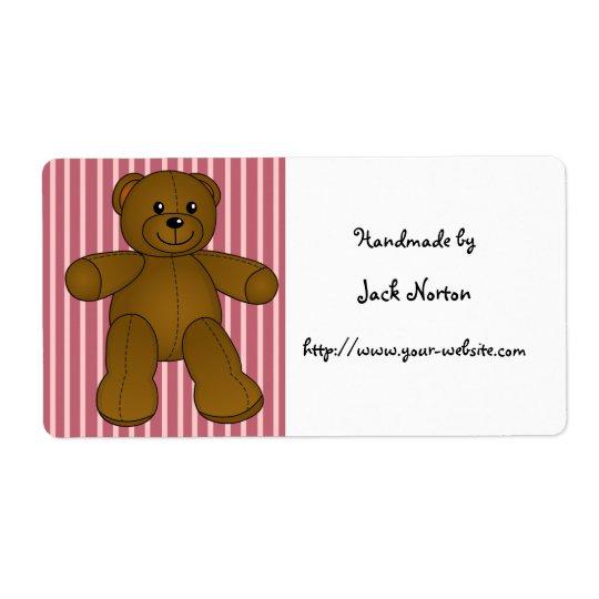 Handmade by - Cute brown teddy bear Shipping Label
