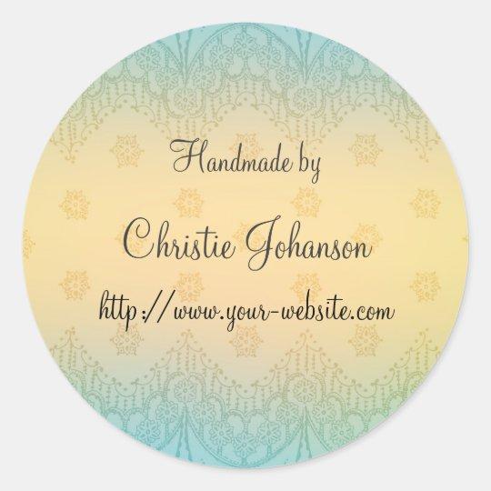 Handmade by - floral design classic round sticker
