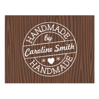 Handmade by stamp on dark wood personalized name postcard