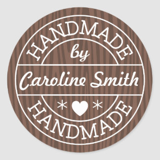 Handmade by stamp on dark wood personalized name round sticker