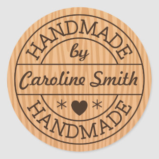 Handmade by stamp on wood personalized name round sticker