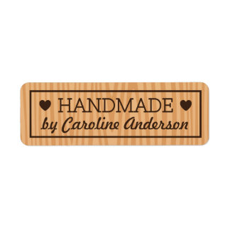 Handmade by wood background hearts custom name