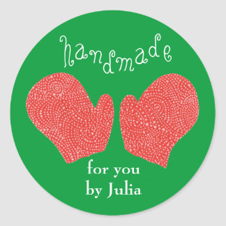 """Handmade For You by (Name)"" holiday sticker"