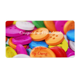 Handmade for You Colorful Buttons Label Shipping Label