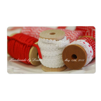 Handmade for You Red Spools Sewing Label Shipping Label