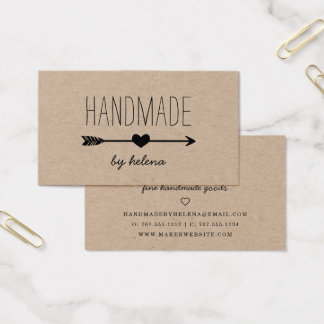 Handmade Heart   Rustic Kraft Business Card