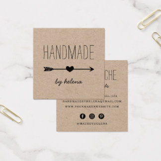 Handmade Heart   Rustic Kraft Square Business Card