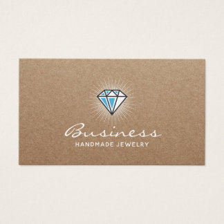 Handmade Jewelry Diamond Logo Elegant Kraft Business Card