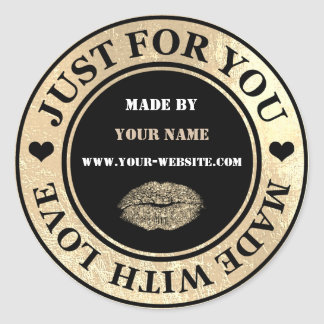 Handmade Just For You Made Black Gold Glitter Kiss Classic Round Sticker
