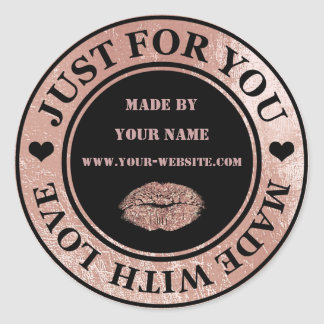 Handmade Just For You Made Black Rose Gold Kiss Classic Round Sticker