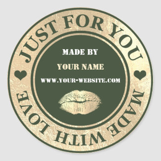 Handmade Just For You Made Cali White Gold Kiss Classic Round Sticker