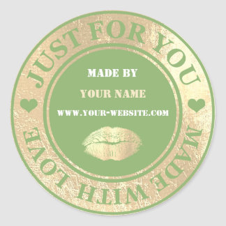 Handmade Just For You Made Green White Gold Kiss Classic Round Sticker