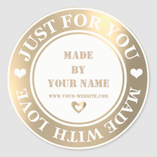 Handmade Just For You Made Love Foxier Gold White Classic Round Sticker
