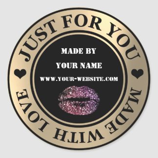 Handmade Just For You Made Love Gold Glitter Kiss Classic Round Sticker