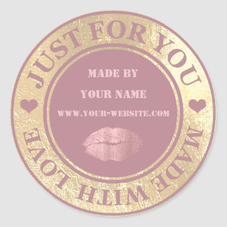 Handmade Just For You Made Red Bean Gold Kiss Classic Round Sticker