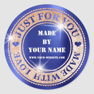 Handmade Just For You Made With Love Blush Cobalt Classic Round Sticker