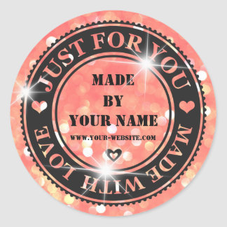 Handmade Just For You Made With Love Bokhe Candy Round Sticker