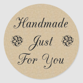 Handmade Just For You on Kraft Look Background Round Sticker