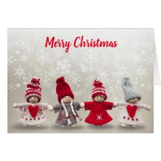 Handmade Knit Winter Angels Christmas Card